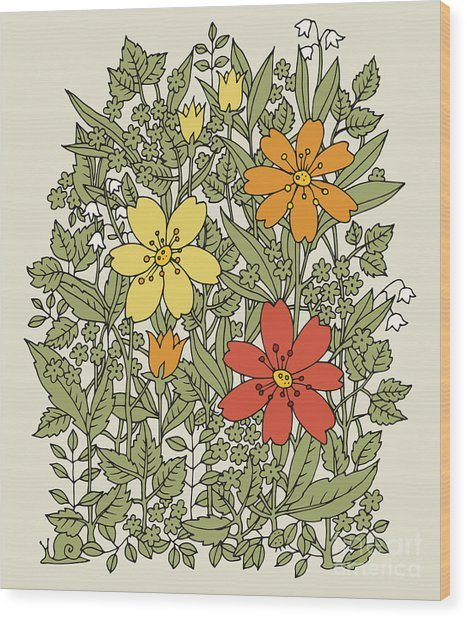 Hand Drawn Flowers On White Background Wood Print
