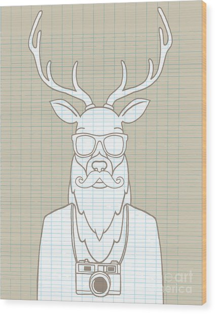 Hand Drawn Hipster Deer In Sunglasses Wood Print