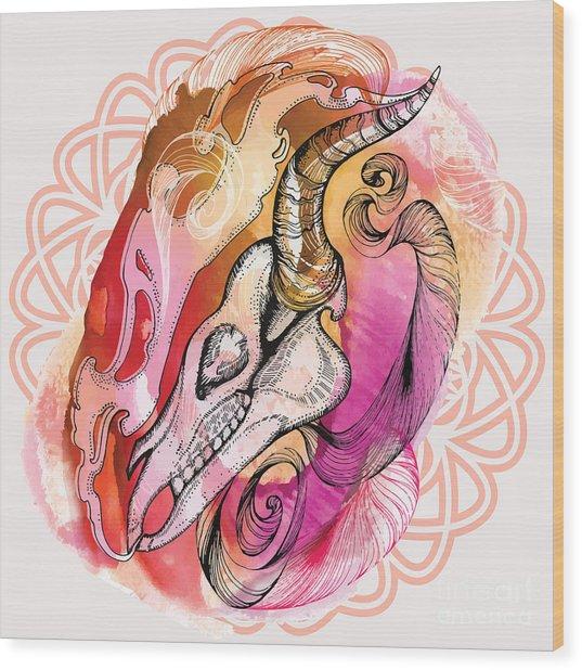 Hand Drawn Horse Skull. Hand Draw Wood Print