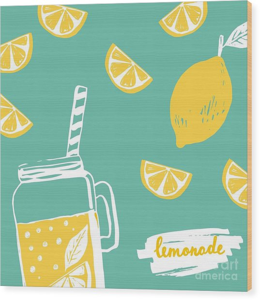Hand Drawn Lemonade Wood Print