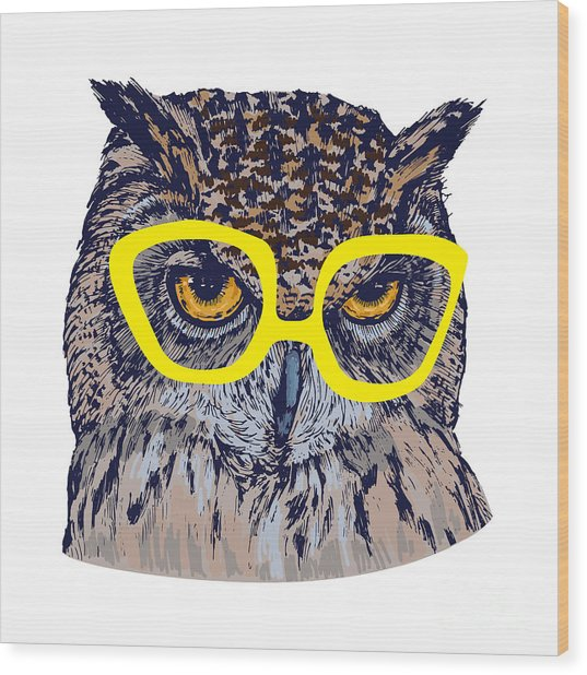 Hand Drawn Owl Face With Yellow Wood Print