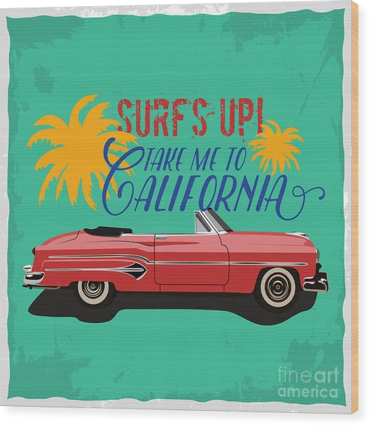 Hand Drawn Retro Car With A Text Take Wood Print