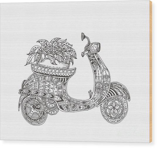 Hand-drawn Scooter With Ethnic Floral Wood Print by Evgeniya Anfimova