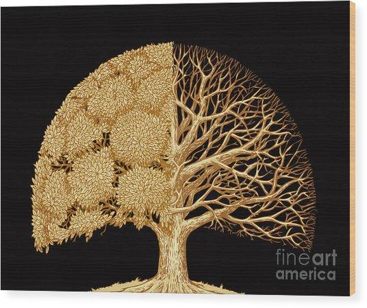 Hand Drawn Sketch Tree. Environmental Wood Print