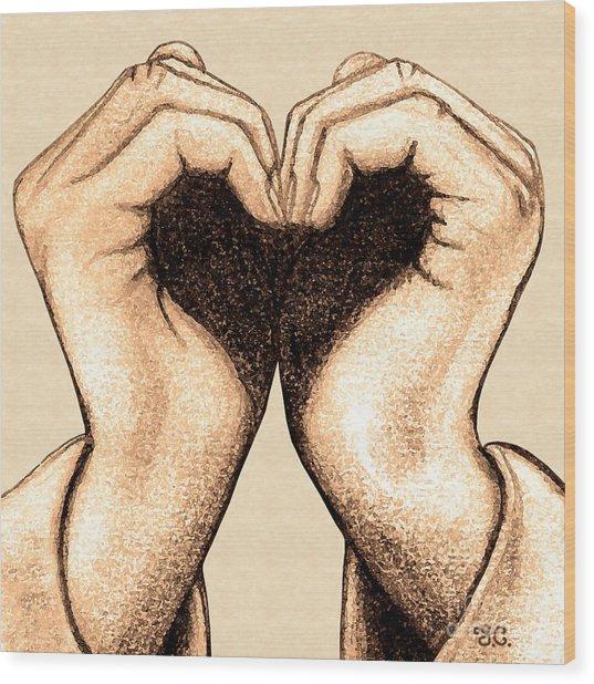 Hand Heart Wood Print