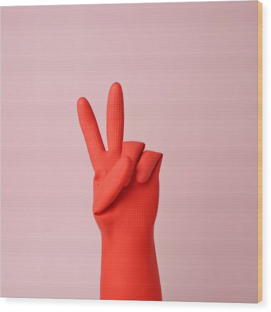 Hand In Red Rubber Glove Making Peace Wood Print by Juj Winn