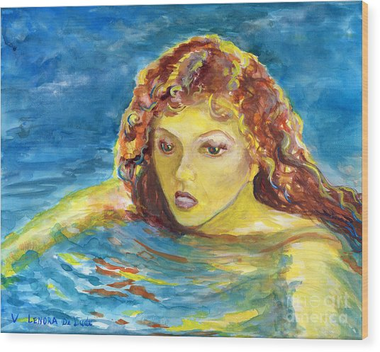 Hand Painted Art Adult Female Swimmer Wood Print