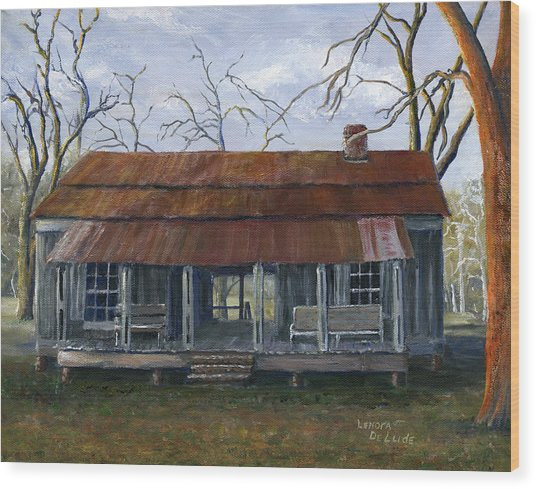Hand Painted Art Dogtrot House In Pleasant Hill Louisiana Wood Print