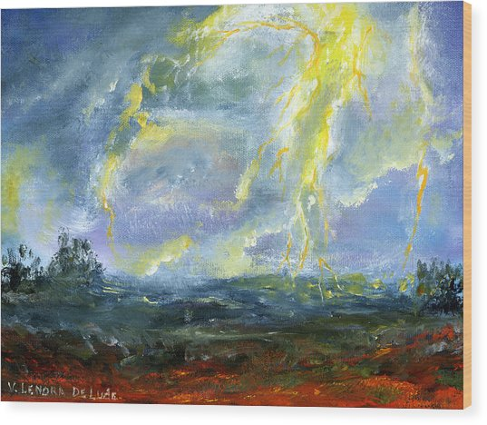 Hand Painted Art Louisiana Storm Wood Print