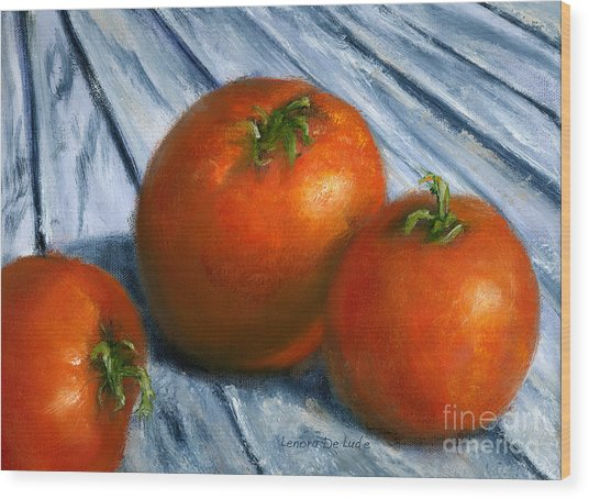 Hand Painted Art Still  Life Tomatoes Wood Print