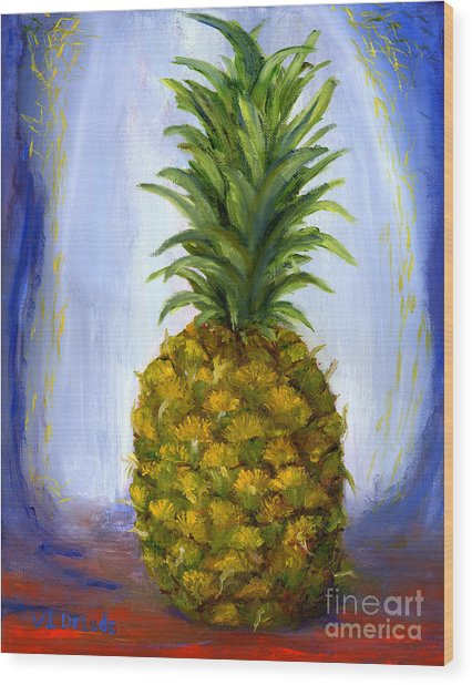 Hand Painted Pineapple Fruit  Wood Print