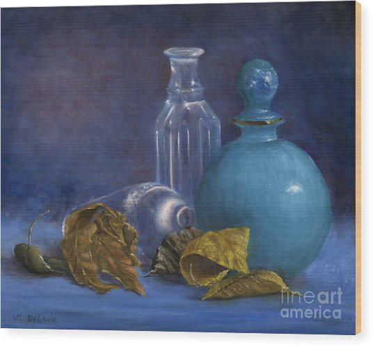 Hand Painted Still Life Bottles Leaves Wood Print