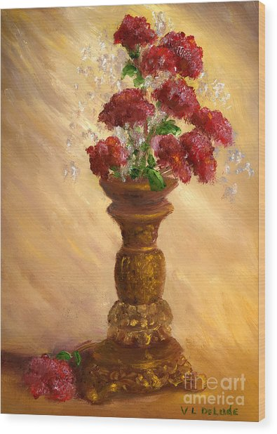 Hand Painted Still Life Red Flowers Gold Vase Wood Print