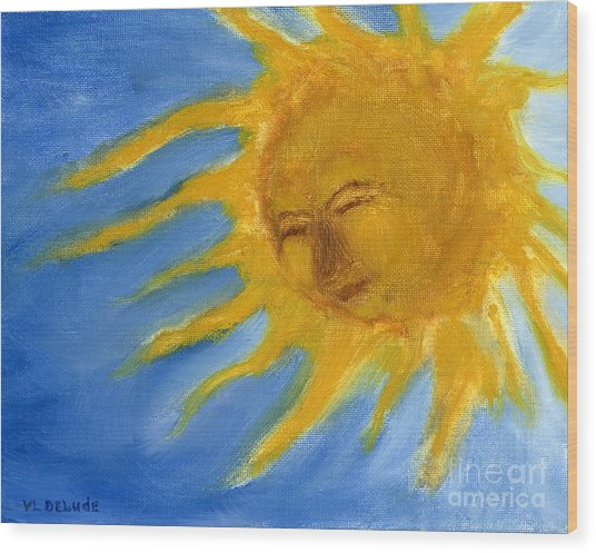 Hand Painted Sun Face Old Sol Wood Print