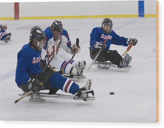 Handicapped Ice Hockey Players Wood Print