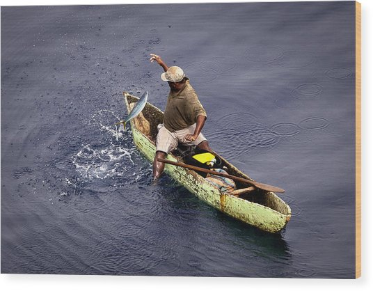 Handline Fisherman Wood Print