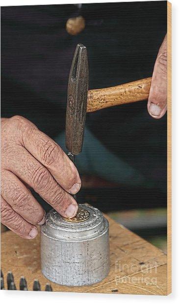 Hands Making Dog Tags Wood Print