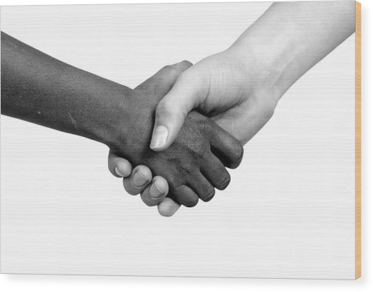 Handshake Black And White Wood Print