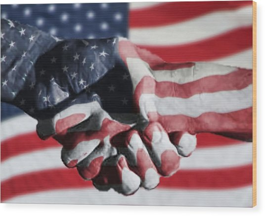 Handshake Melded With American Flag Wood Print by Sherry H. Bowen Photography