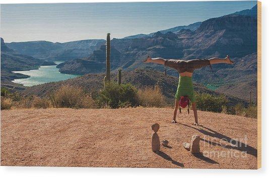 Handstand At Apache Lake Wood Print