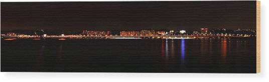 Hangang And Seoul Night Scene Panorama Wood Print by Phoresto Kim