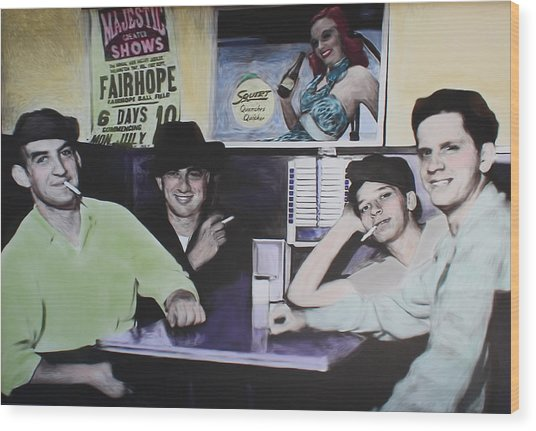 Hanging At The Diner 1949 Wood Print