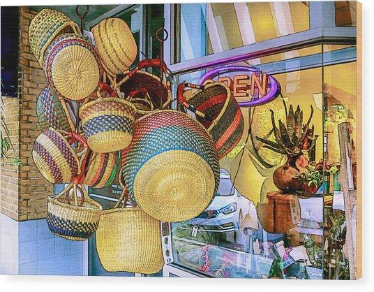Hanging Baskets Wood Print