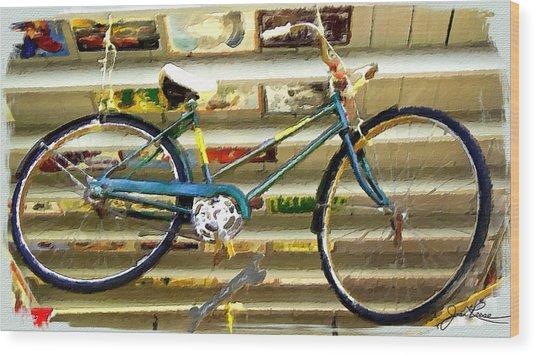 Hanging Bike Wood Print