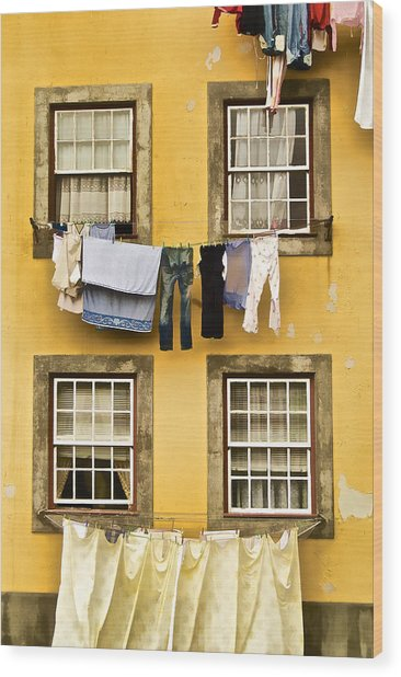 Hanging Clothes Of Old World Europe Wood Print