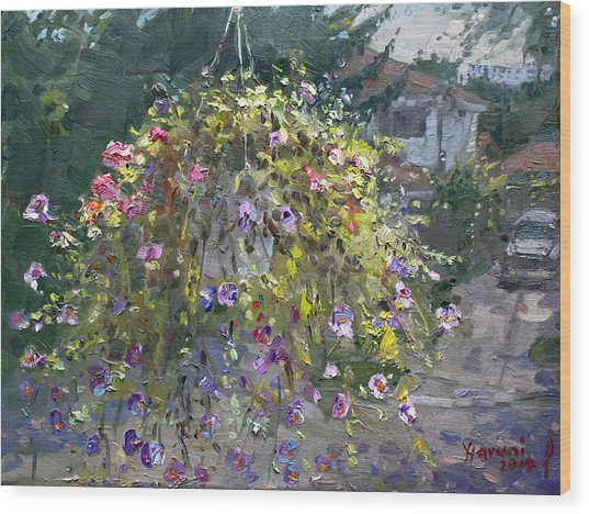 Hanging Flowers From Balcony Wood Print