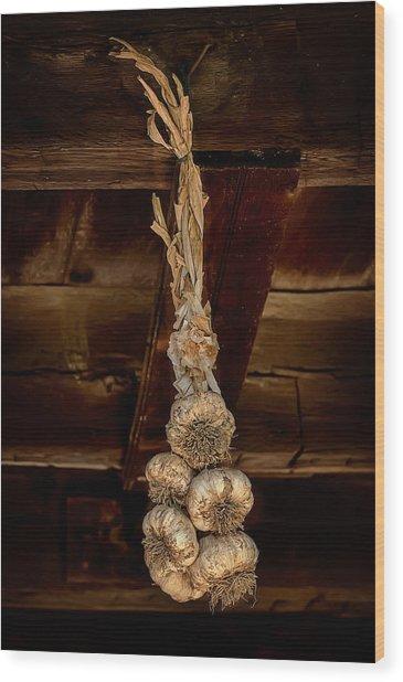 Hanging Garlic Wood Print