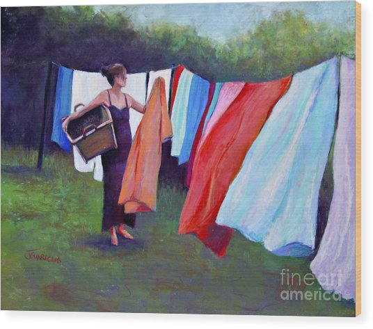 Hanging Laundry Wood Print by Joyce A Guariglia