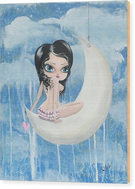 Hanging On The Moon Wood Print