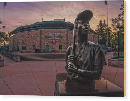 Hank Aaron Statue Wood Print