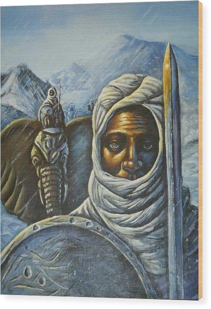 Hannibal Crossing The Alps Wood Print by Barbara Gray