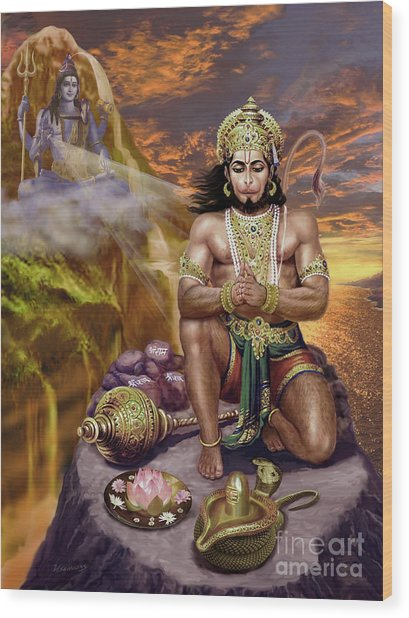 Hanuman Receives Lord Shiva's Blessings Wood Print