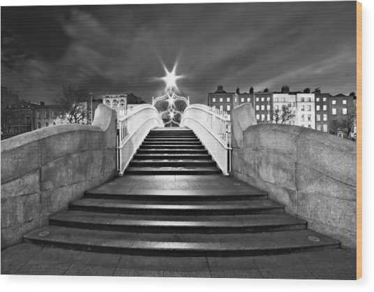 Wood Print featuring the photograph Ha'penny Bridge Steps At Night - Dublin - Black And White by Barry O Carroll