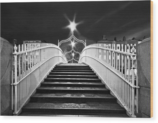 Wood Print featuring the photograph Ha'penny Bridge Steps - Dublin - Black And White by Barry O Carroll
