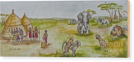 Happy Africa Wood Print