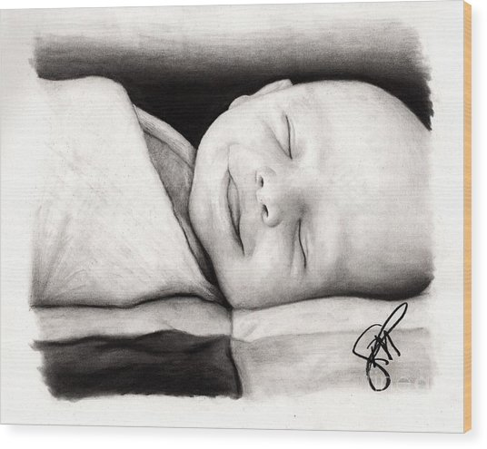 Happy Baby Wood Print by Rosalinda Markle