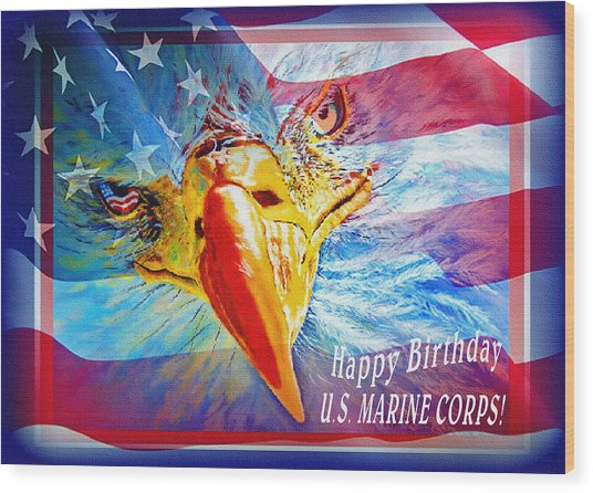 Happy Birthday Marine Corps Wood Print