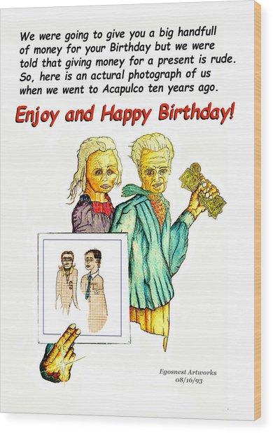 Happy Birthday Office Memo Employee Wood Print