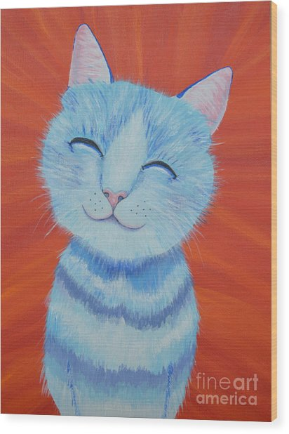 Happy Cat Wood Print
