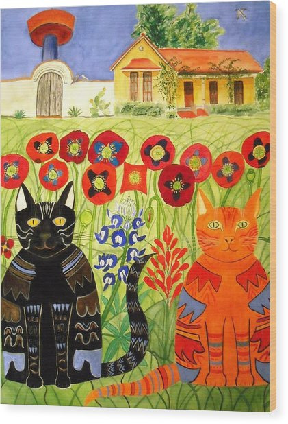Happy Cats Wood Print