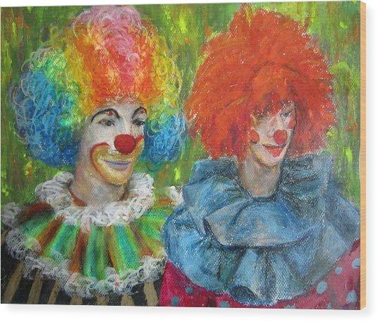 Gemini Clowns Wood Print