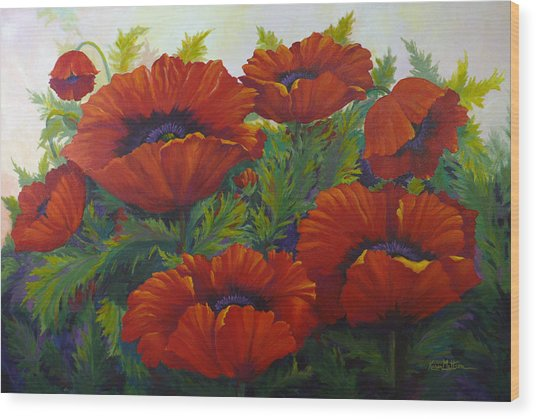Happy Dance Red Poppies Wood Print