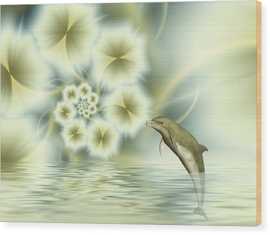 Happy Dolphin In A Surreal World Wood Print