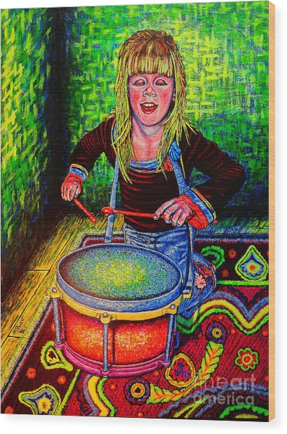 Happy Drummer Wood Print