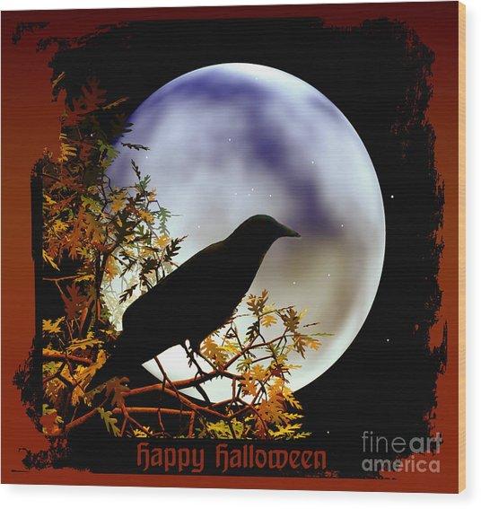 Happy Halloween Moon And Crow Wood Print