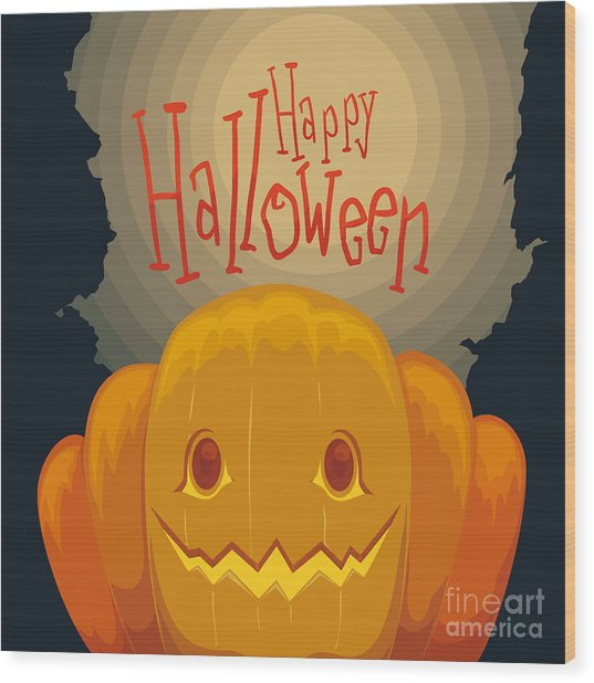 Happy Halloween Pumpkin Poster With Wood Print